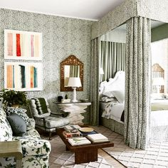 This week's Fabulous Room: A Stunning Bedroom by @michaelsmithinc swathed in @brunschwigfils Les Touches as featured in @archdigest | Photo by: @rogerdaviesphotography | www.ladolcevitablog.com #ldv #ladolcevita #chic #greenisgood