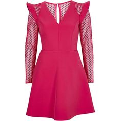 River Island Bright pink lace insert frill skater dress ($130) ❤ liked on Polyvore featuring dresses, pink, skater dresses, women, pink v neck dress, pink ruffle dress, pink long sleeve dress, pink dress and v neck skater dress