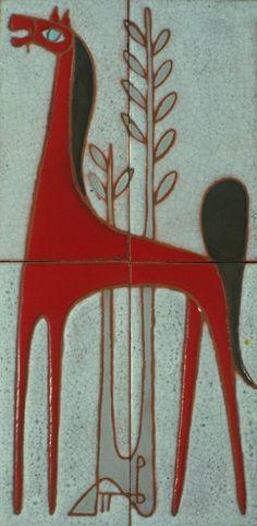 .:. Βαλσαμάκης Πάνος – Panos Valsamakis [1900-1986] Greek Paintings, 10 Picture, Greek Art, Horse Art, Pottery, Tiles, Horses, Artists, Design