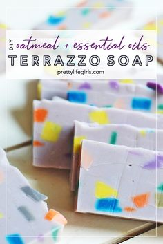 DIY Oatmeal and Essential Oils Terrazzo Soap - The Pretty Life Girls Terrazzo, Diy Crafts To Sell, Easy Crafts, Homemade Essential Oils, Oatmeal Soap, Soap Tutorial, Diy Projects For Kids, Project Ideas, Homemade Soap Recipes