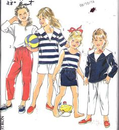 Sailor tops!!  30% OFF Childrens Sewing Pattern 1980s  by Sutlerssundries on Etsy