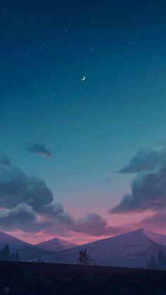 Calm night - My best wallpaper list Night Sky Wallpaper, Cloud Wallpaper, Anime Scenery Wallpaper, Landscape Wallpaper, Pastel Wallpaper, Cute Wallpaper Backgrounds, Pretty Wallpapers, Aesthetic Iphone Wallpaper, Galaxy Wallpaper