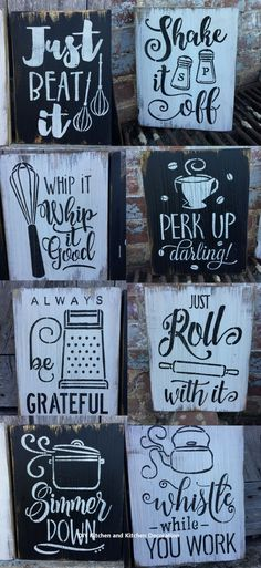 Details about Rustic Wood Signs - The Cute Kitchen Collection - 10 - Free Color Customization - Ah I love these funky yet rustic kitchen signs! I want one of each have a kitchen gallery wall!