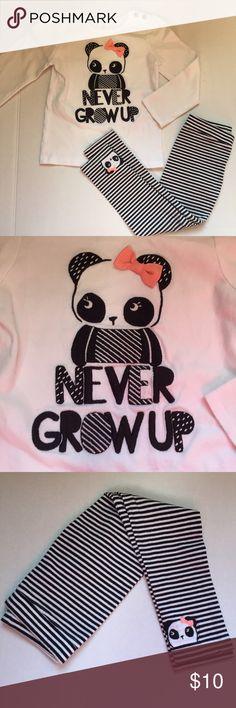 Gymboree Panda Outfit 2 piece Gymboree panda outfit. Shirt has panda  🐼 design with bow & button details. Pants are black & white striped with panda design on bottom left leg. Gymboree Matching Sets