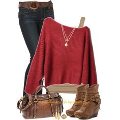 Red long sleeve wool irregular pullover