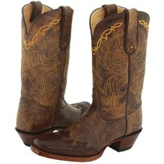 Tony Lama Bark Santa Fe Cowboy Boots, Brown ($142) ❤ liked on Polyvore featuring shoes, boots, cowboy boots, brown, mid-calf boots, mid calf cowboy boots, cowgirl boots and brown leather boots