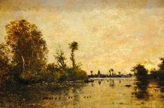 Charles François Daubigny, Barbizon, On the Seine, oil Barbizon School, Earthy, Sky, Watercolor, Landscape, Projects, Painting, Shop Signs, Heaven