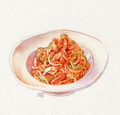 Creative Food Art, Good Food, Yummy Food, Food Stickers, Food Painting, Food Drawing, Coffee Art, Food Illustrations, Food Menu