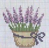 Lavender cross stitch pattern.
