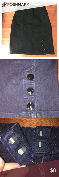 Dark Denim Pencil Skirt! Knee length dark denim pencil skirt.  Three buttons on front.  Zipper back with two clasps. Mossimo Supply Co Skirts Pencil
