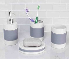 Home Basic 4 Piece Bath Accessory Set with Rubber >>> Learn more by visiting the image link. Note:It is Affiliate Link to Amazon.