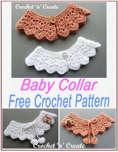 Tie and pom-pom baby collar, get the FREE crochet pattern on Crochet Baby Bibs, Crochet Baby Clothes, Free Crochet, Knit Crochet, Booties Crochet, Crochet Hats, Baby Clothes Patterns, Baby Patterns, Clothing Patterns