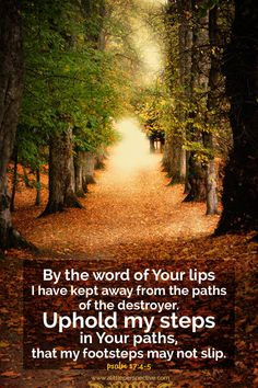 By the word of Your lips I have kept away from the paths of the destroyer. Uphold my steps in Your paths, that my footsteps may not slip. Psalm 17:4-5 <3