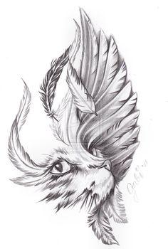 cat_and_bird_wing_by_inkaddicted4life-d5gkgdd.jpg (900×1336)