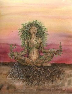 Earth Peace and love - Earth Goddess, Goddess Art, Natur Tattoos, Sacred Feminine, Peace And Love, Art Inspo, Fantasy Art, Artsy, Drawings