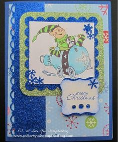 Elf Joy Ride Handmade Christmas Card | The elf is having such fun on this DIY Christmas card. Make your own with this tutorial!