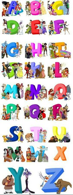 Alphabet with characters names