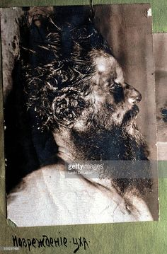 A post-mortem photograph of Grigori Rasputin taken before his autopsy on December 20 (O.S.), 1916 in Saint Petersburg in Russia. A photograph is a part of a police dossier on Rasputin's death.
