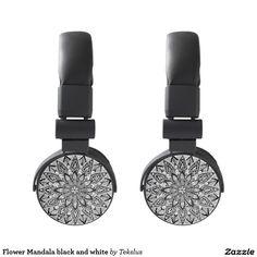 Flower Mandala black and white Headphones