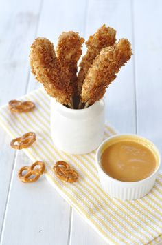 pretzel crusted chicken on a stick with peach honey mustard {dairy-free, gluten-free, egg-free, nut-free} YUM!