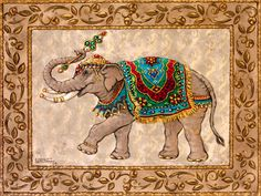 Royal Elephant II, a giclee , by the artist Janet Kruskamp. This original oil painting is one of a set of two paintings showing Royal Elephants. Royal Elephant II depicts a medium brown colored elephant facing left, wearing a crown, decorated with gold bands around and on the tips on the tusks, and wearing a brightly colored fringed carpet over his back and holding a scepter up high in his trunk. A wide decorated border frames a parchment like background.