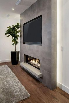 Living Room Tv Wall Decor Ideas Fire Places 40 Ideas For 2019 Fireplace Tv Wall, Basement Fireplace, Fireplace Remodel, Fireplace Design, Fireplace Ideas, Linear Fireplace, Fireplace Feature Wall, Tv Feature Wall, Concrete Fireplace