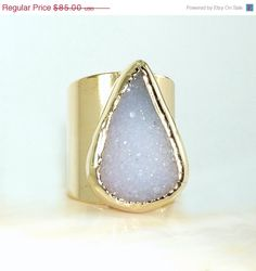 SALE Druzy Gold RingGemstone Ring White Druzy Ring by inbalmishan