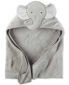 Carter's Baby Boys' Hooded Elephant Towel - Gray