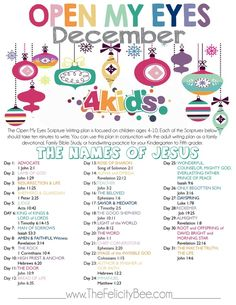 The Felicity Bee's December Scripture Writing plan FOR KIDS is here. We are studying the Names of Jesus. Each of Jesus' names reveals a different character and aspect to who He is. Join us this Holiday as we study the True Gift and reason for season.