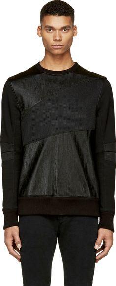 Helmut Lang Black Panelled Crewneck Mens Shawl Collar Cardigan 9481bdb614dab