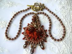 Bead embroidered Pendant FLOWER OBSESSION necklace by MaewaDesign