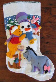 Bucilla Pooh Decorating the Tree by MissingSockStitchery Christmas Stocking Kits, Felt Christmas Stockings, Felt Stocking, Christmas Tree Themes, Disney Christmas, Christmas Crafts, Christmas Ornaments, Felt Crafts, Holiday Crafts