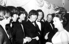 Princess Margaret meets the Beatles The Beatles, left to right, Ringo Starr, George Harrison, Paul McCartney and John Lennon, and their manager Brian Epstein meet Princess Margaret at the premier of their film Help at the London Pavilion, July 1965.