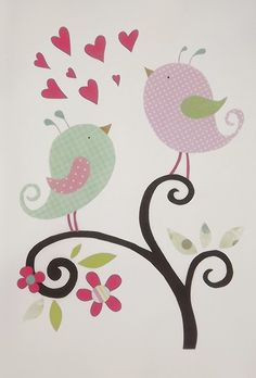 Items similar to Nursery art print, nursery decor, nursery print, Kids art, bird, pink, green, bird, Tree, A4 print on Etsy
