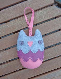 Purple Felt Owl Lavender Bag / Lavender Filled door NellyJaneCrafts