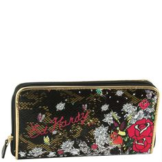 42a551a85ce Ed Hardy wallets Prairie Meadow Zip Around Wallet - Black   large selection  of Designer wallets