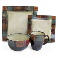 $70 With an ivory interior and a colorful border of mosaic squares, these American Atelier dinnerware pieces will set your dinner table aglow with color. These Hopscotch plates, bowls and mugs offer service for four in a 16-piece set of earthenware.