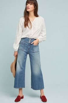 See this Pilcro Ultra High-Rise Cropped Wide-Leg Jeans from Anthropologie. Wide Jeans, Cropped Wide Leg Jeans, Jean Outfits, Cool Outfits, Summer Outfits, Jean Court, Oufits Casual, Casual Wear, Casual Chic Summer