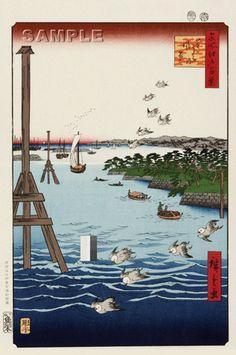 Utagawa Hiroshige - No.108 View of Shiba Coast - One hundred Famous View of Edo