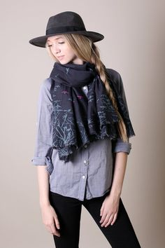 Accessorize your everyday outfit with this midnight blue silk natural cotton soft scarf. Trees and flock of birds print. Premium quality silk cotton