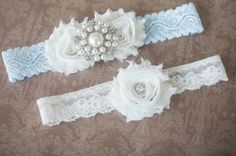SALE Wedding garter Ivory and blue garter by AnnabelleCollection