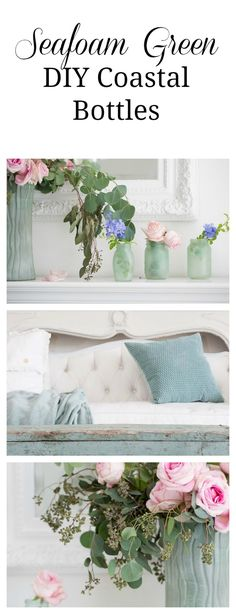 Seafoam Green In A Coastal Style Living Room. How to make your own beach glass bottles for a seaside beach coastal room.