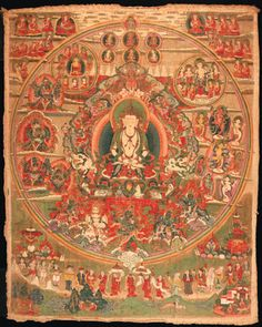 A Thanka of Shenla Wokar   Tibet, Bön, 18th Century   With Shenla Wokar, the Bön deity of compassion, at center on an elaborate throne with lions, dragons, and mythical creatures surmounted by Garuda, with tutelary deities portrayed at left, enlightened figures at top, element goddesses at right, and protector deities at bottom, outside the field are monastic lineages at corners and a line of devotees giving offerings below  34 x 27 in. (86.4 x 68.6 cm.)