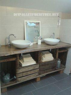 Salle de bains comptoir en utilisant des boîtes de fruits 1