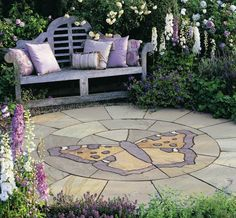 Stonemarket Trustone Butterfly Feature Paving Circle For Modern And  Traditional Gardens. #PavingCircles #DecorativePavingCircles