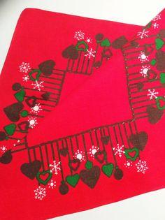 60s Christmas Swedish hand printed table cloth. Retro by Inspiria