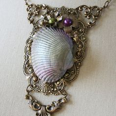 Accessories : Fantasy Mermaid Ocean Crescent Necklace. #District4 #Fishing