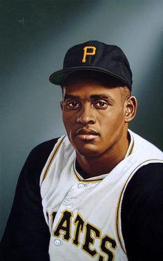 Portrait of Roberto Clemente by artist  Arthur K. Miller