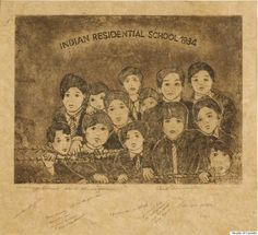 """Alanis Obomsawin - """"Indian Residential School 1934 - A prison or a school?"""" - """"Abenaki filmmaker Alanis Obomsawin is known for documentaries such as """"Kanehsatake: 270 Years of Resistance."""" But she's also a visual artist, as evidenced in this piece, a commentary on the Indian residential school policy that took children away from their homes, their families, and their traditions."""""""