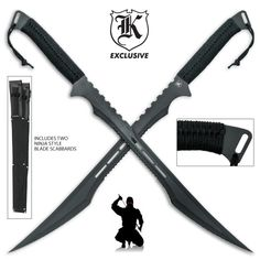 Twin Ninja Swords with Tactical Scabbards (:Tap The LINK NOW:) We provide the best essential unique equipment and gear for active duty American patriotic military branches, well strategic selected.We love tactical American gear Tactical Swords, Tactical Knives, Tactical Gear, Katana Swords, Swords And Daggers, Knives And Swords, Espada Anime, Pretty Knives, Ninja Sword
